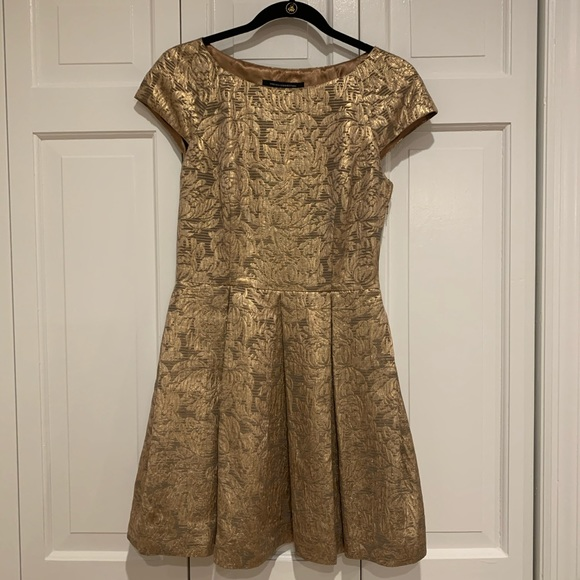 French Connection Dresses & Skirts - Gold floral embroidered a-line dress from FC